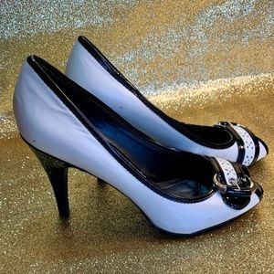 Black and White Spectator Pump with Peep Hole 3.5""